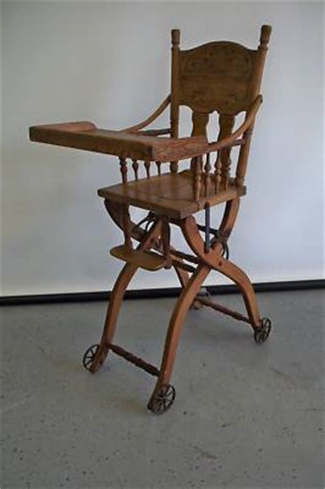 vintage folding wooden high chair antique folding highchair stroller solid carved wood nr