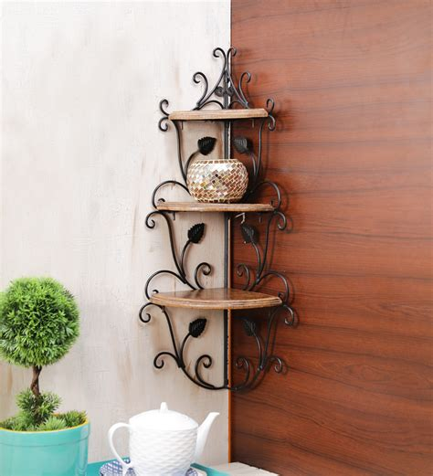 wall shelves pepperfry buy onlineshoppee corner brown rack online colonial