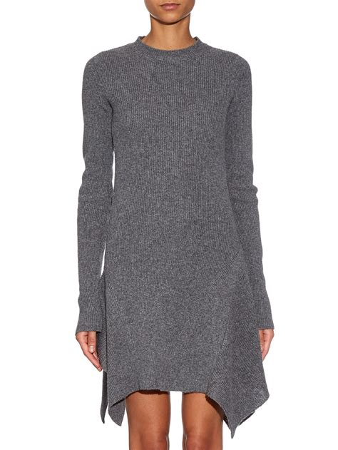 stella mccartney knit dress stella mccartney asymmetric ribbed knit dress in gray lyst