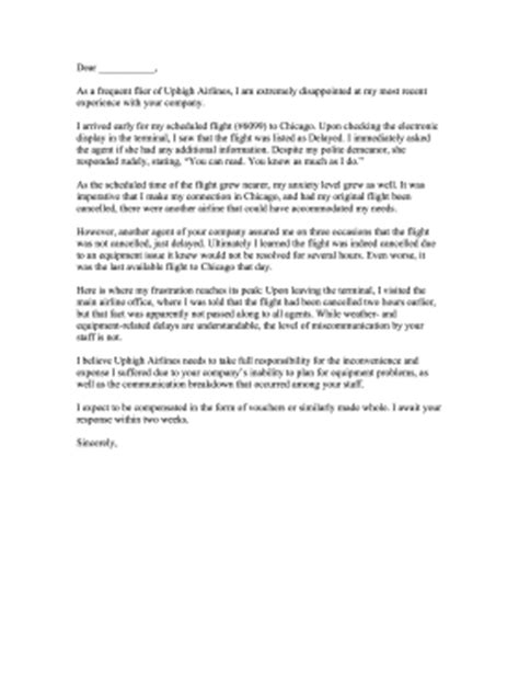 Complaint Letter Template Flight Delays Airline Complaint Letter