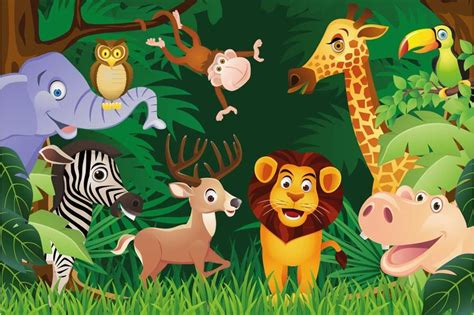 Animal Wall Mural engrossing and educative jungle wallpaper for kids walls
