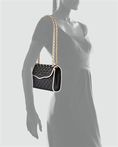 Minkoff Quilted Affair Black by Minkoff Quilted Affair Studded Mini Shoulder Bag Blackwhite In Black Null Lyst