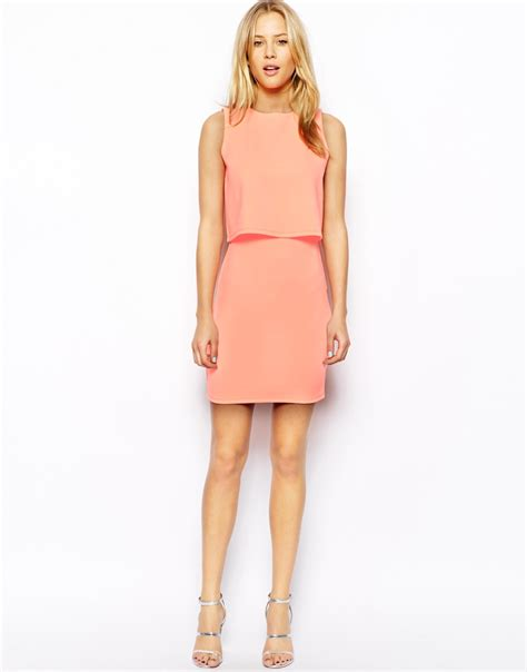 Layered Dress asos layered mono dress in pink coral lyst