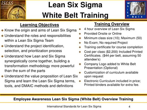 international standards for lean six sigma offerings