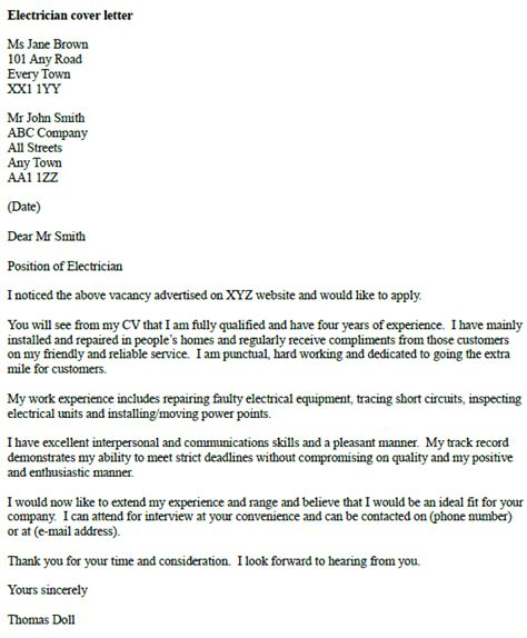 cover letter exle for an electrician icover org uk