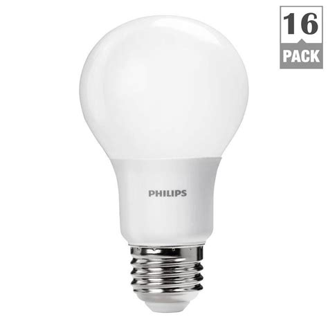 Philips Dimmable Led Light Bulbs Philips 40w Equivalent Daylight Non Dimmable A19 Led Light Bulb 16 Pack 461160 The Home Depot