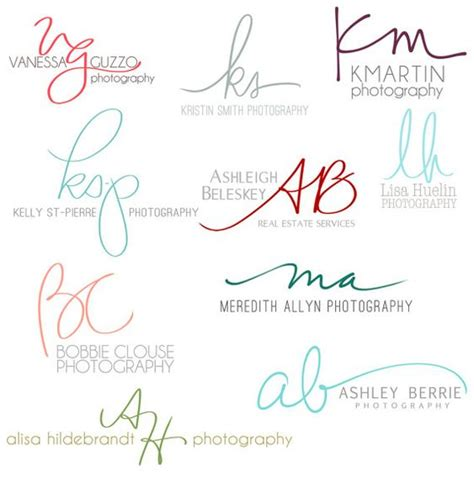 signature design plans custom logos initials and photography names on pinterest