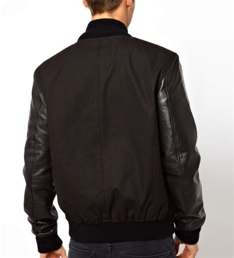 design custom made bomber jacket with our clothing custom men bomber jacket with leather sleeves 2016 latest