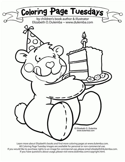 Coloring Page Tuesdays by Dulemba Coloring Page Tuesday Birthday Cake