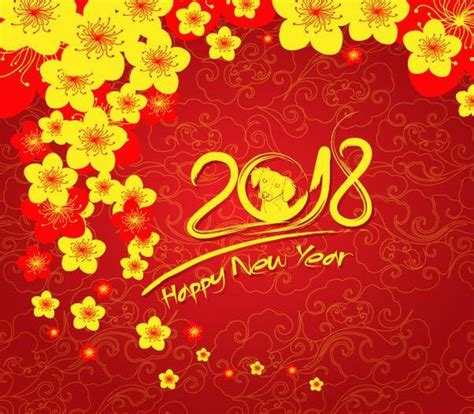 new year flower background yellow flower with 2018 new year background vector