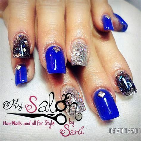 imagenes de uñas de acrilico azul marino u 241 as acrilicas azul rey con plata