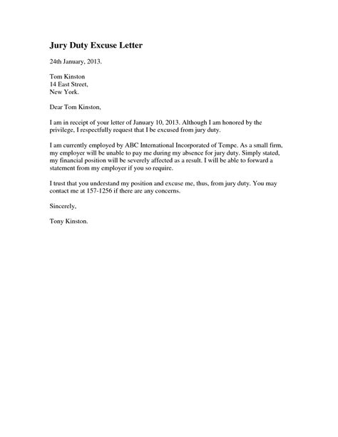 jury duty excuse letter template amazing and stunning jury duty excuse letter