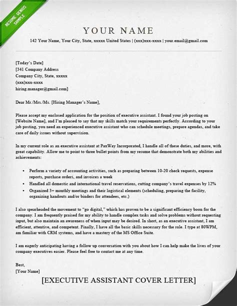 Executive Assistant Resume Cover Letter office services assistant cover letter