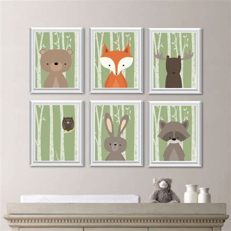 Baby Boy Nursery Art Woodland Nursery Art Woodland Forest Friends Nursery Decor