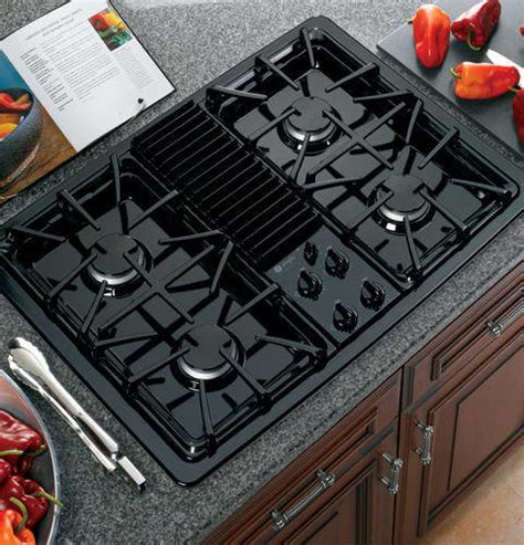 ge gas cooktop with downdraft ge pgp990denbb 30 inch downdraft gas modular cooktop with