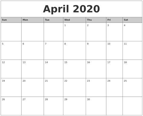 april  monthly calendar printable