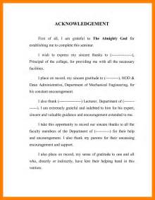 Acknowledgement Letter Exle For Thesis 4 Acknowledgment Sles Resume Sections