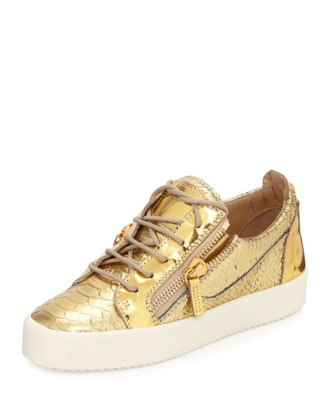 metallic sneakers giuseppe zanotti snake embossed metallic sneaker in gold