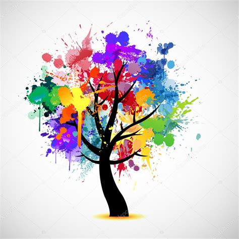 multi color tree multi colored paint splat abstract tree stock vector