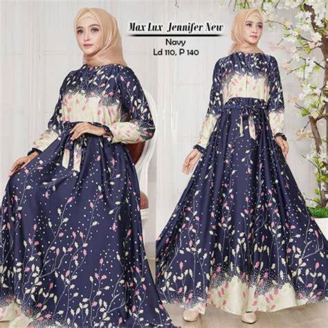 Gamis Dress Maxmara Motif Zeea baju dress isabell navy motif daun bahan maxmara murah