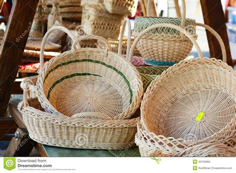 Handmade Baskets For Sale - bamboo baskets for sale stock photo image of fair
