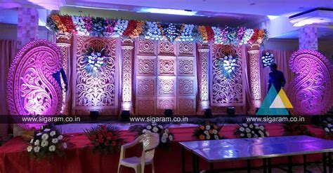 Reception Stage decoration done at SNR Thirumana Mandapam