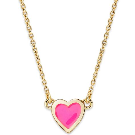 kate spade goldtone be mine pink pendant necklace in