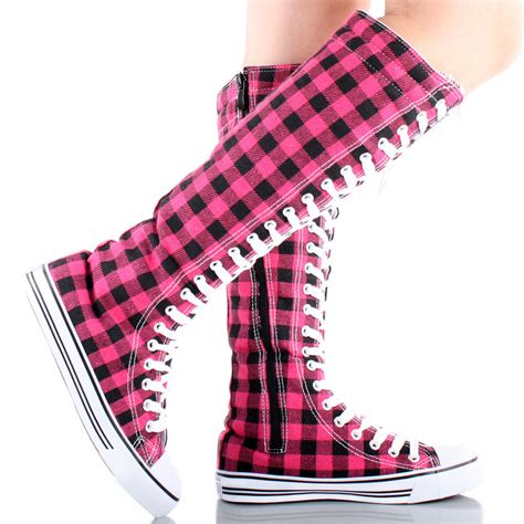 pattern lace up knee high sneaker boots lace up plaid knee high sneaker boots from