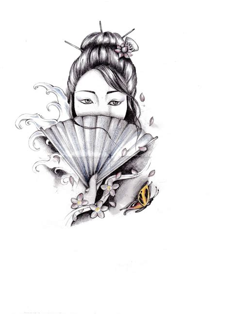 geisha tattoo japanese geisha stencil tattooshunter com