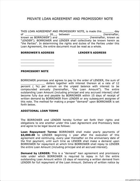 personal loan template personal loan agreement contract template template