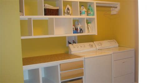 Laundry Room Wall Storage Small Basement Laundry Room Design With Yellow Wall Interior Color Paint Decor Combined