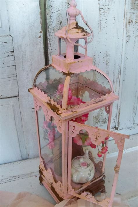 pink shabby chic display case glass and metal vitrine rusted