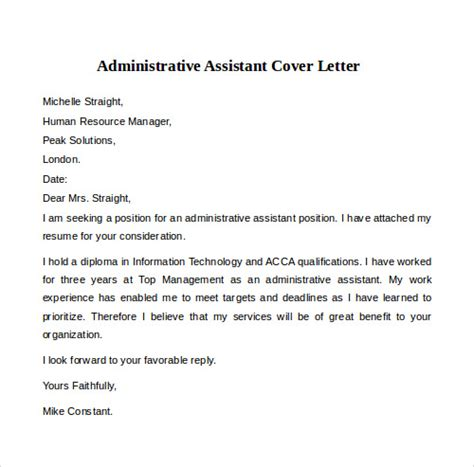 Sample Resume Format Administrative Assistant by Sample Cover Letter Examples 12 Free Download Documents
