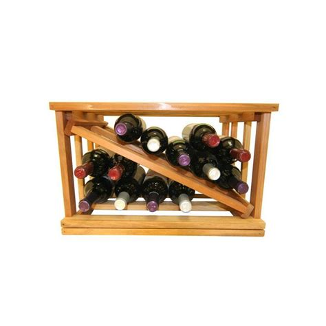 mini stack series bin storage light stain wine rack 11 15