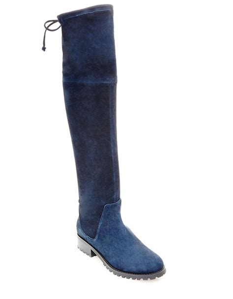 boots blue lyst blondo snow knee high suede boots in blue
