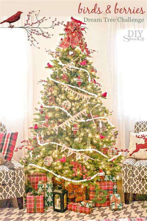 bird themed christmas tree birds berries tree tree challengediy show diy decorating