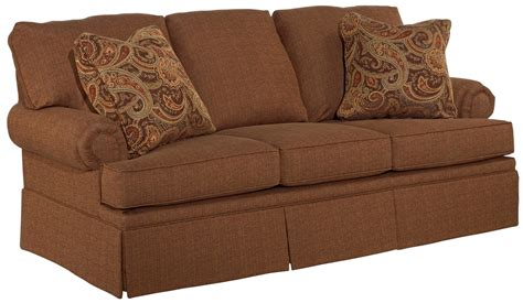 sofa with skirted base broyhill furniture jenna full irest sleeper sofa with