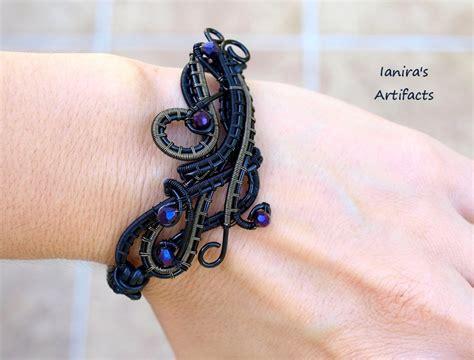 Black wire wrapped leather macrame bracelet 2 by IanirasArtifacts on DeviantArt