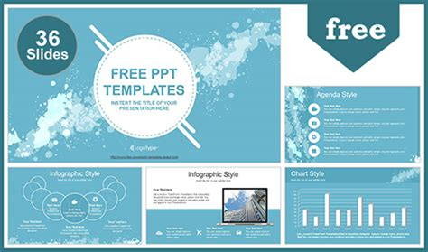 Water Colored Splashes Powerpoint Template Free Templates For Microsoft Powerpoint
