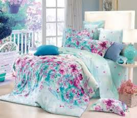 Teenage Bedding Free Shipping Flower Blue Floral Cotton Queen Size 4pc