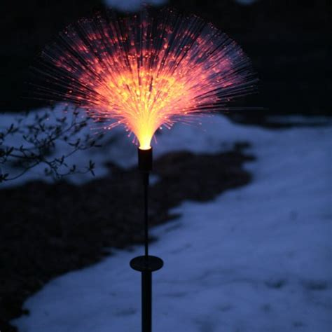 Fiber Optic Landscape Lighting Mr Light 44334 Single Solar Fiber Optic Garden Stake With Color Changing Led Landscape Lighting