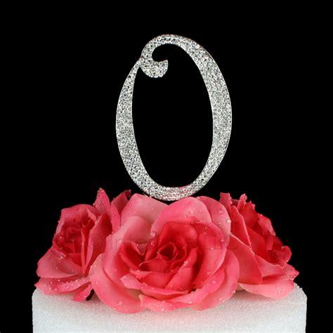 rhinestone cake toppers for wedding cakes rhinestone silver letter quot o quot monogram wedding cake