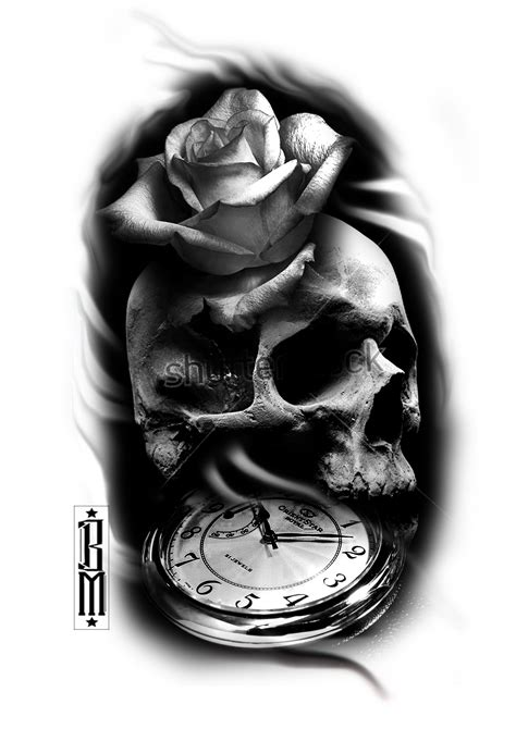 digital tattoo design skull clock black and grey sleeve ideas