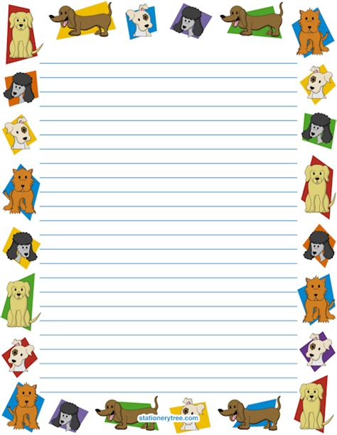 printable writing paper with dogs dog stationery and writing paper stationary borders for