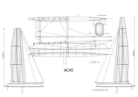 america s cup catamaran dimensions chevalier taglang america s cup ac45 plans ac45 lines