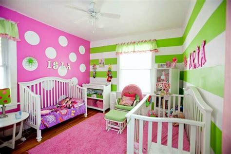 pink and green bedrooms pink and green girls room stripes and polka dots it is