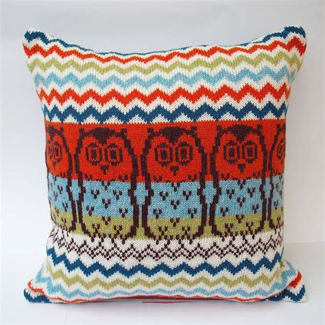 knitted owl cushion chevron owl knitted cushion by clova knits