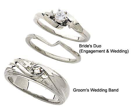 diamond cross wedding ring set  white gold set