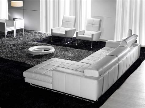 White Leather Sofa With Chaise Sabik Chaise Contemporary White Leather Sofa