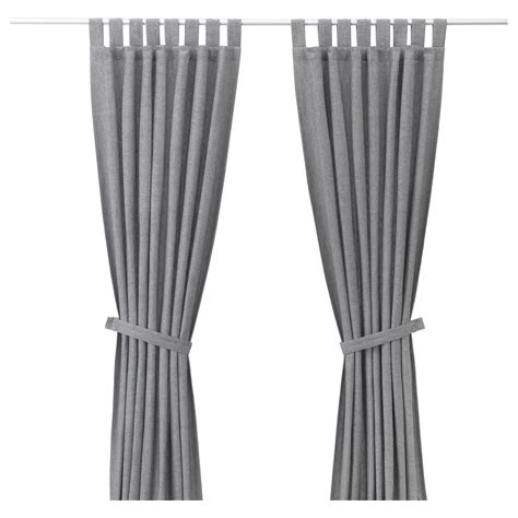 the curtain with lenda curtains with tie backs 1 pair grey 140x250 cm ikea
